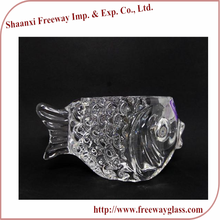 heat resistant fish shaped clear glass tea light candle holder with logo