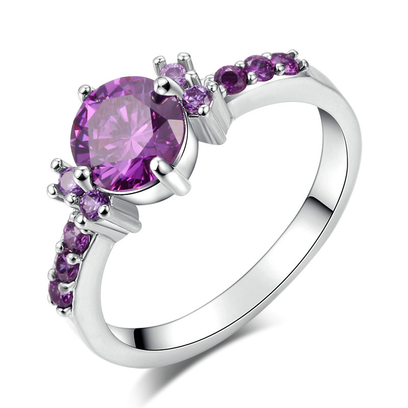 New Coming Elegant Amethyst CZ Diamond Rings White Gold Ring Round Prong Setting Bridals Finger Ring For Women