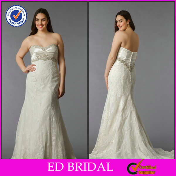 EDW286 Crystal Beaded Bust and Waist Lace Mermaid Wedding Dresses for Big Women