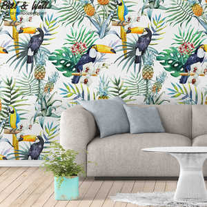 Hand-painted tropical Parrots non woven wallpaper designs wallpaper for bedroom walls PW201801300408