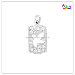 Silver cut out peace dove crystal charm