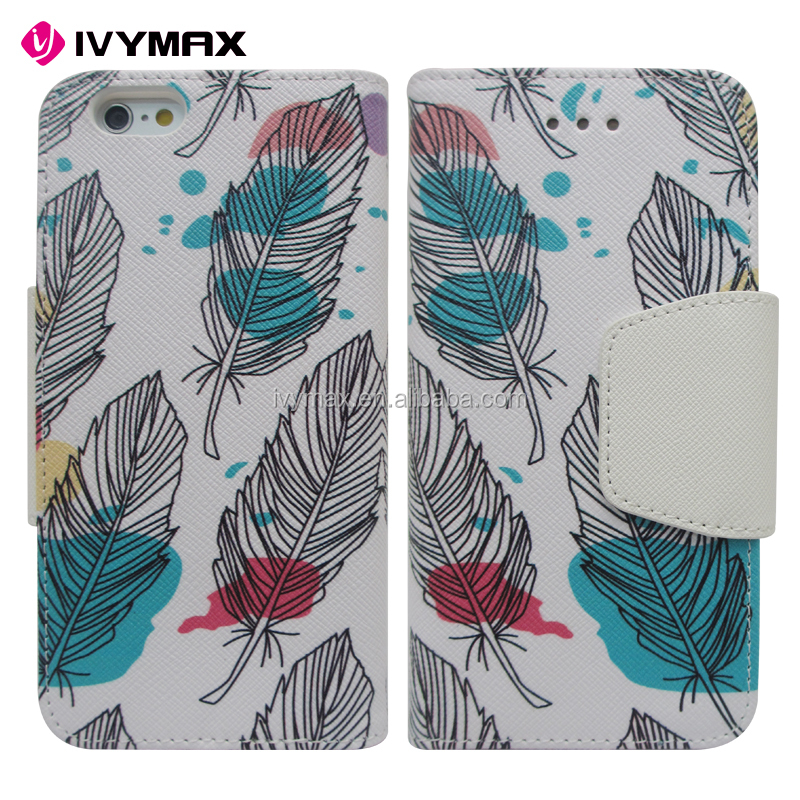 IVYMAX Fashion printed pattern magnetic wallet case stand flip PU leather phone case for APPLE iphone 6