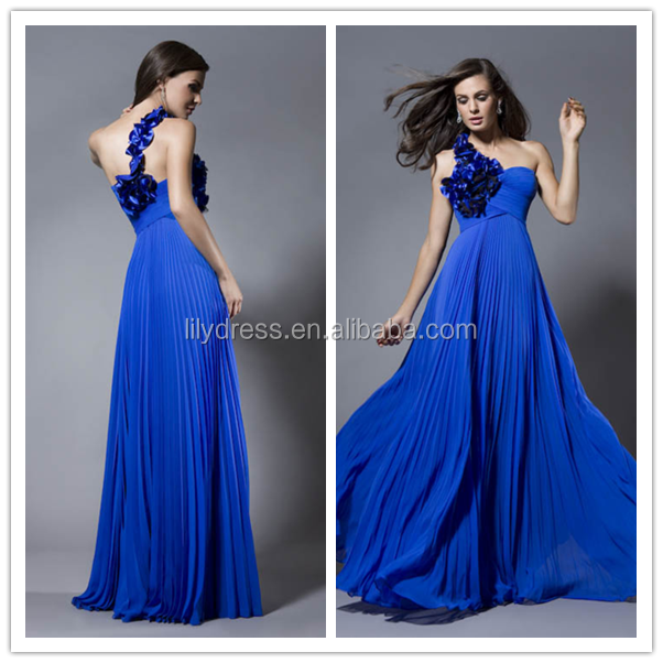 One Shoulder Chiffon Floor Length Long Custom Made Design Evening Party Wear Robe De Soiree ED277 blue silk dress to the floor