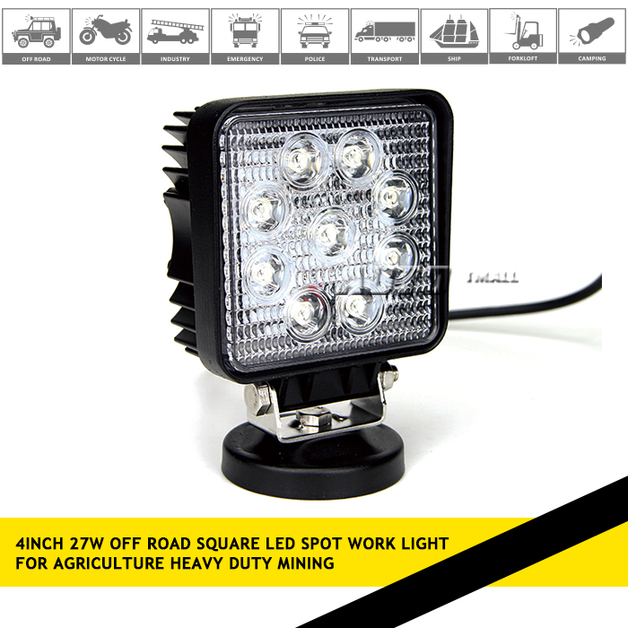 12V 24V spot flood beam led worklight magnetic led work light IP67 12v 27w led work light for off road
