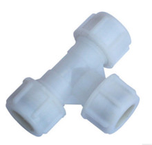 Quick connecting socket type white plastic tee pipe fitting