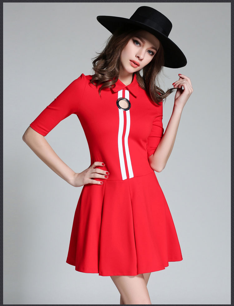 2017 Latest A Line With Collar Fashion Dress , Office Lady Half Sleeve Thread and colour Splicing Dress, OEM Service Supply