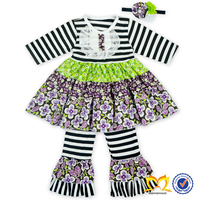 2016 Spring Short Sleeve Black Stripes Flower Dress And Ruffle Pants Baby Girls Persnickety Outfit Baby Clothes Wholesale Price