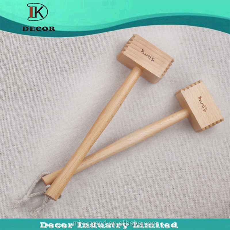 Cheap Solid Wood Long Handle Meat Hammer For Kitchen Use