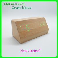 Home office table rectangular portable wooden led clock