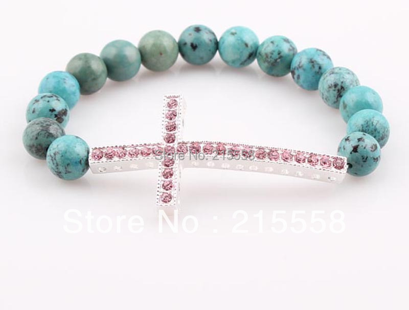 Retail DIY New Charm Rhinestone Honesty Turquoise Sideways Cross Bracelet Side Way Natural Stone Shamballa Bracelet Jewelry
