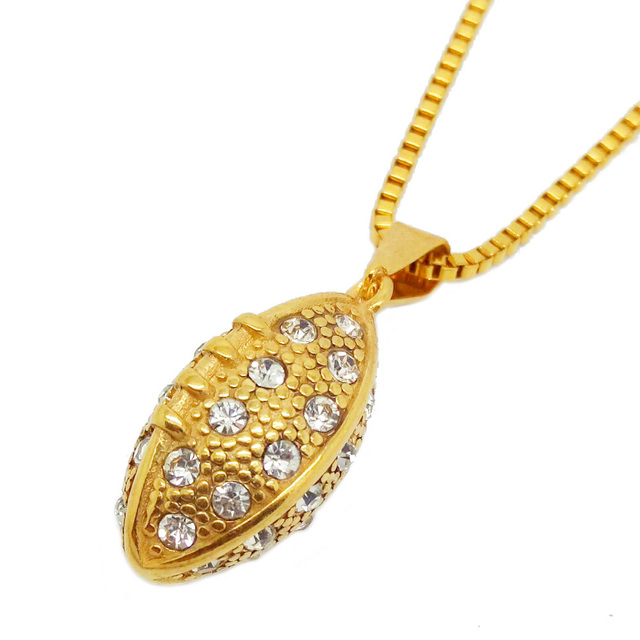 Olivia Stainless Steel Sports Fitness Gym Jewelry American Football Pendant Cool Gold Crystal Rugby Necklace