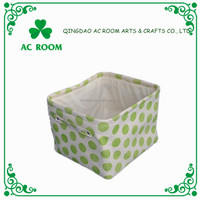 Wave point pattern square fabric storage basket
