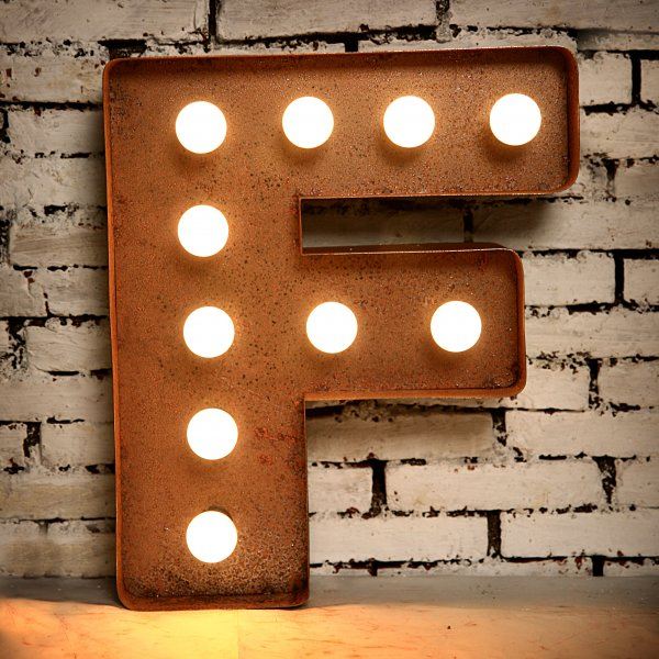 Vintage White Large Wooden Block Freestanding Alphabet LED Light UP Letters