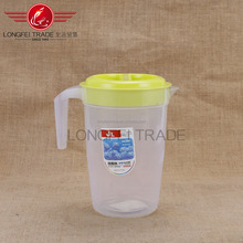 Transparent glass and yellow lid 2 l plastic cold water bottle with OPP packaging