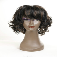 Hot selling cheap price synthetic hair wig fashion short curly wig for black women