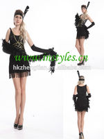wholesalers dropship 1920s Charleston Black Flapper Fancy Dress Costume + Feather Boa, Headband manufacturers