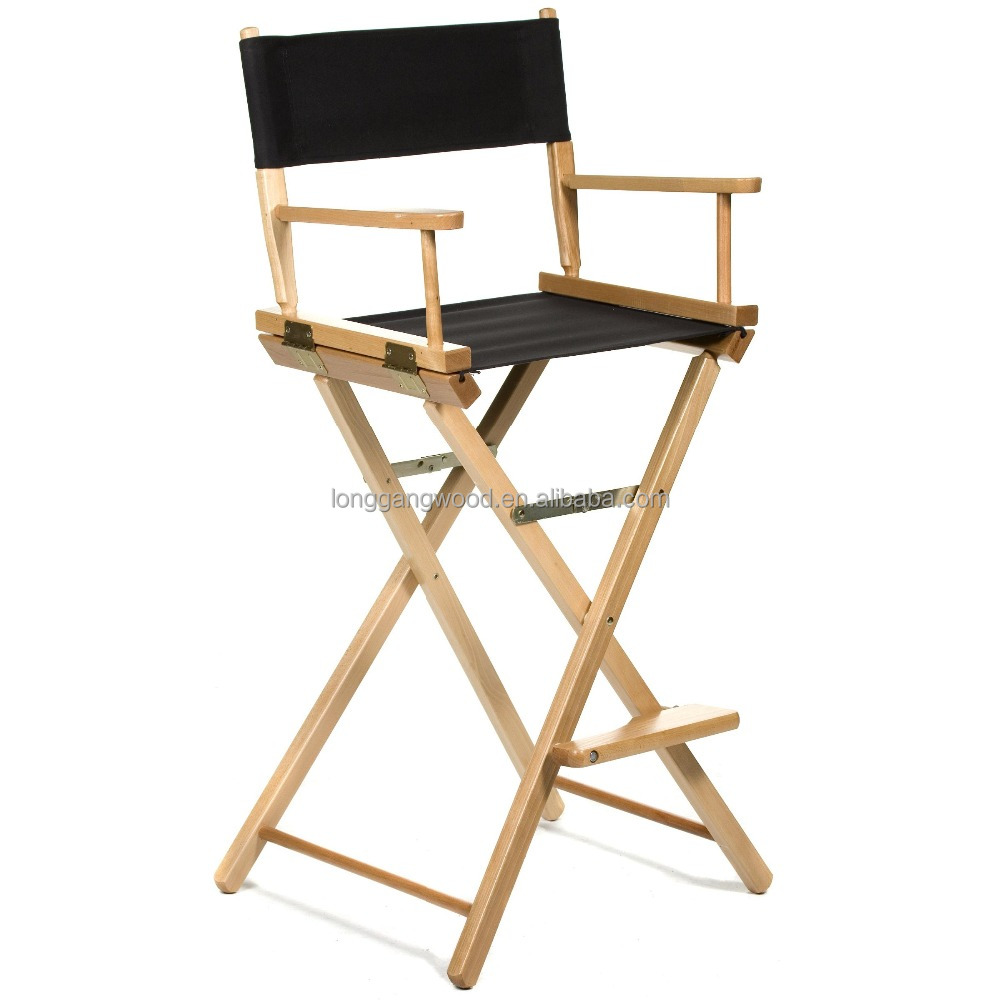 Wooden Canvas Folding Director Chair Outdoor Home Garden Leisure Tall Wooden