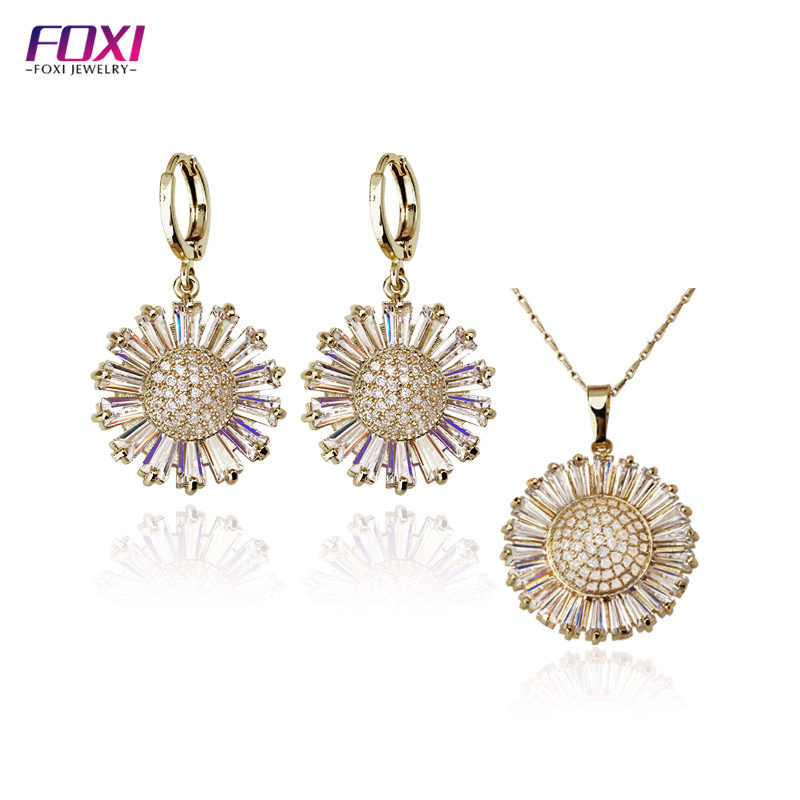 Hot selling Gold plating flower pendant bridal earring and necklace jewelry set