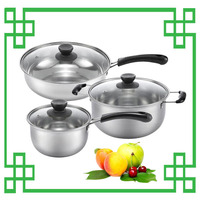 wholesale glass lid stainless steel kitchenware set , frying pan