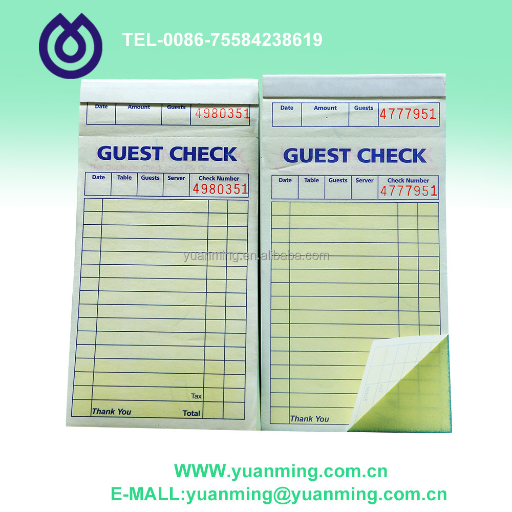 American good looking and convenient guest check for waiter and kitchen