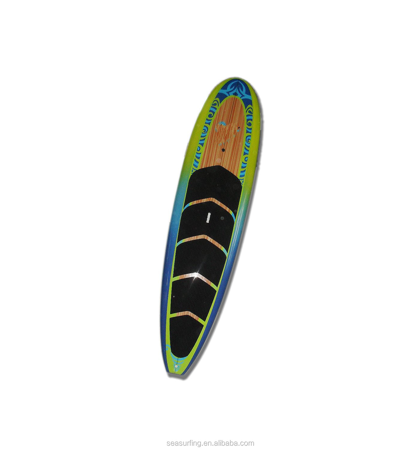 2014 hot selling !~green & blue design customized bamboo supboard/grey Camouflage EVA deck grip sup board surf paddle board
