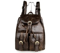 JMD Vintage Genuine Leather Knapsack Bag Unisex School Backpack Bag # 2011LC