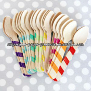boutique partyware GIRLS Rainbow Stripe Wooden Ice Cream Spoons or Cupcake Spoons