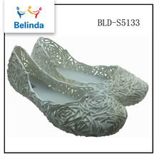 European style latest pvc ladies rose flat heel footwear pvc jelly shoes