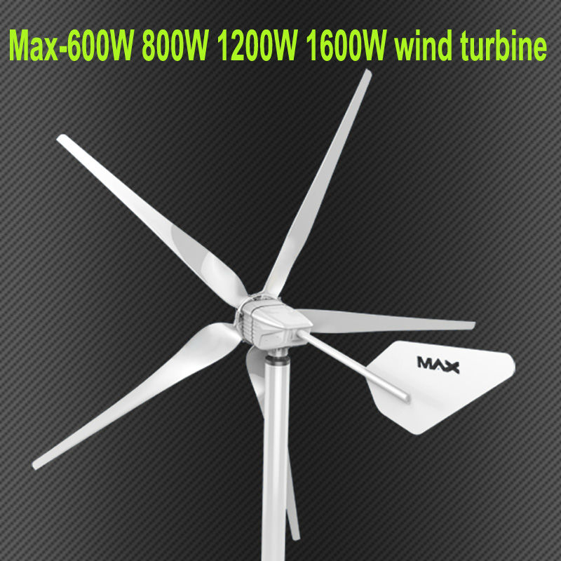 MINI Max 600W 800W 1200W 1600w 24v/48V 5 blades small wind turbine