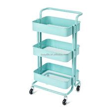 3 Tier multi functional hand trolley with wheels kitchen trolley cart