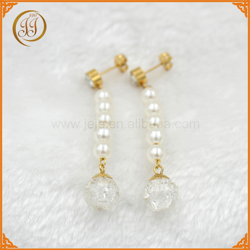 Factory Bulk Sale Price Dangling Ball Pendant Freshwater Pearl Drop Earrings