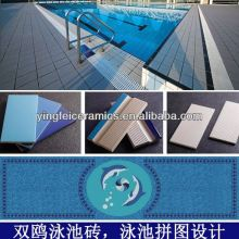 Swimming pool border tile for blue standard pool tiles