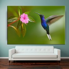 Ink friendly blue color bird animal pictures outdoor fabric canvas painting