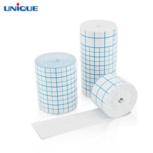 Waterproof blue grid adhesive non woven fabric medical cotton gauze roll