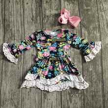 Fall baby girls children clothed dress cotton floral flower lace milk silk soft boutique ruffle long sleeve match bow kids wear