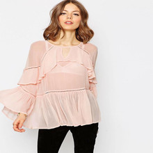 Newest fashion ladies chiffon tops tiered ruffle blouse summer women's clothing