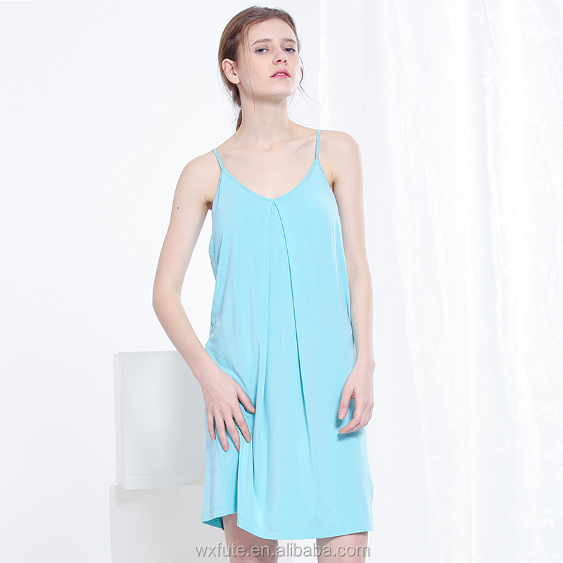 Women High Quality Sexy Natural Cotton Spandex Nightgown
