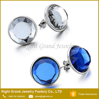 Customized Beautiful Stainless Steel Round Dome Big Crystal Stud Earrings