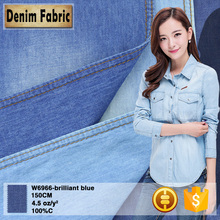 w6966 cheap 4.5oz 100 pure blue cotton denim fabric for t-shirt in China
