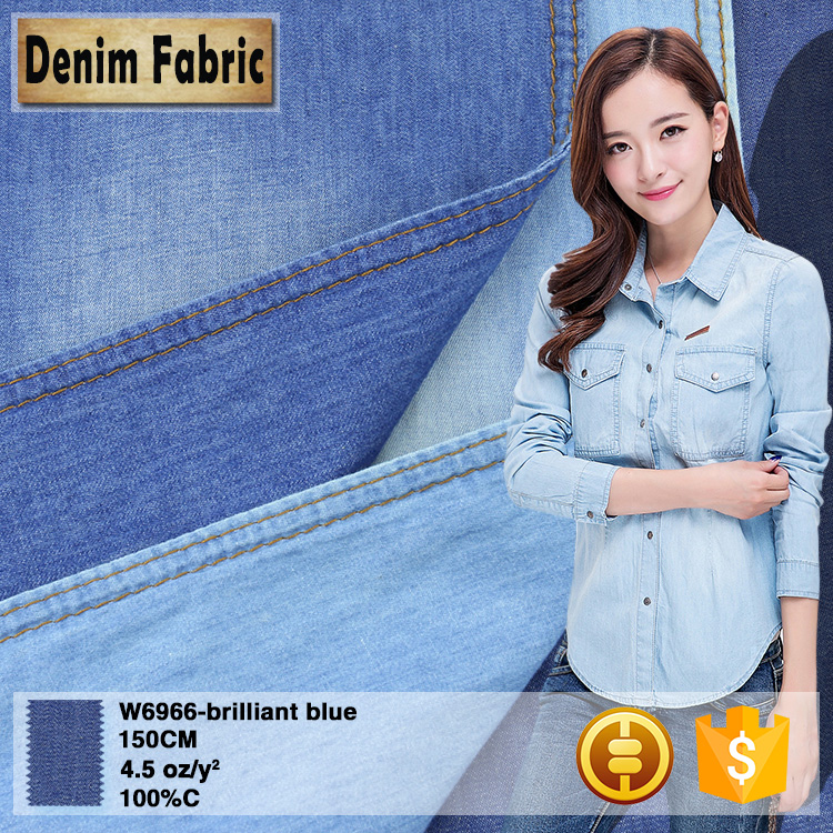 w6966 cheap 4.5oz brilliant blue women shirt 100 pure cotton jean denim fabric