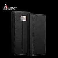 Black genuine leather cell phone wallet stand cover for note 5 case