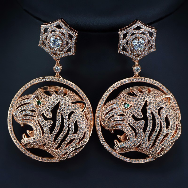 rose gold rhodium plating zirconia tiger leopard design dangle fashion hot sale cheap cz earring stud