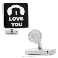 Fashion Cute Silver plated Enamel Letter I Love You Icon Cufflinks For Men Cinemagoer Souvenir