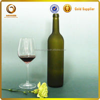 750ml frosted and corked glass wine bottles