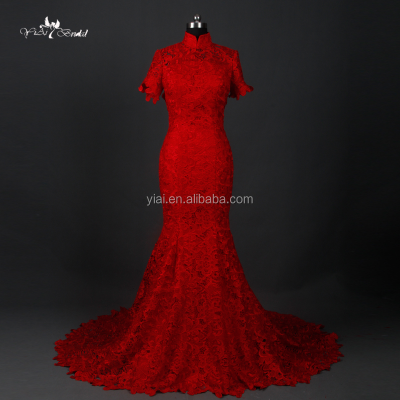 RQ112 Traditional Chinese Red Bridal Lace Korean High Quality Wedding Dress Long Lace Dress Red Dress For Ladies