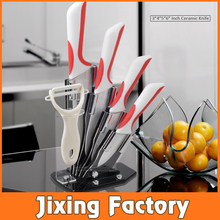 "TJC-112 New Arrival Kitchen Ceramic Knife Set 3"" 4"" 5"" 6"" with Acrylic Knife Block in gift box pack"