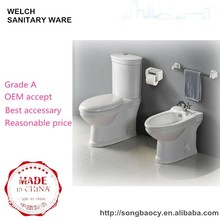012 bathroom two piece toilet water closet with bidet pedestal basin set