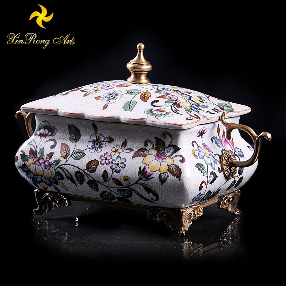 2016 modern living room ornaments bronze and ceramic decoration box with cover