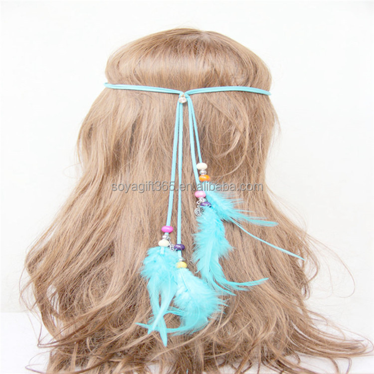 Handmade Braided Four Blue Pieces Feather Hippie Headband Hair Accessories
