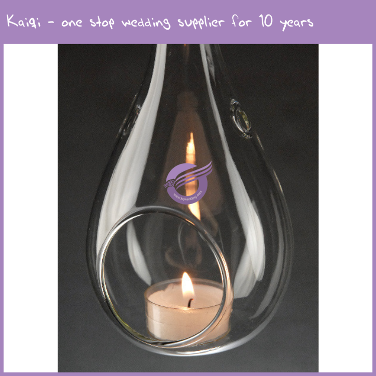 ZT41190 Wedding decoration hang glass candle holders with lid